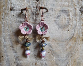 Bohemian and romantic, ceramic, Pearl torch, linen, copper, handmade earrings.