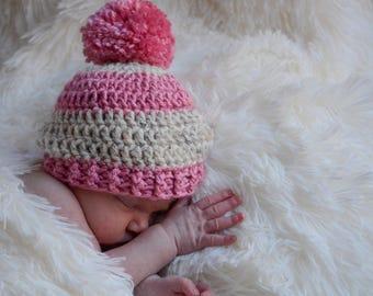 Newborn baby beanie - baby shower gift - crochet hospital hat - newborn photo prop - girl beanie - giant pom pom beanie - newborn beanie pom