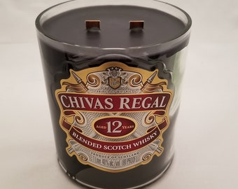 Chivas Regal Scotch Whiskey Recycled Bottle Candle (Little Black Dress Scent)
