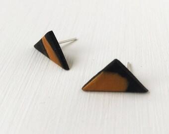 Triangle earrings, black and gold studs, geometric jewelry, modern earrings, minimalist jewelry