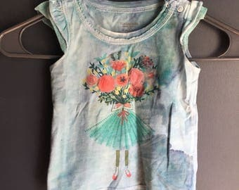24 month short sleeve shirt dyed with blueish greens