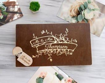 Personalized Keepsake Box Wedding Photo Box Wedding Memory Wood Photo Box Engraved Wedding Photo Memory Box USB Drive Personalized Photo box