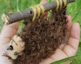 Sloth Costa Rica Pura Vida Handmade Christmas Ornament - Handmade Hanging Brown Sloth Figurine - Woven Plastic Canvas - Three Toed Sloth