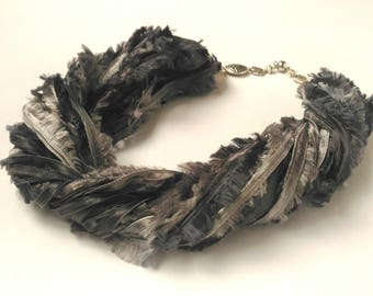 Scarf necklace Layered fabric necklace Gray necklace Scarf women Silver Metallic