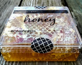 Boneafied Raw Honeycomb, Natural Honey in the Comb, Pure Artisan Local Midwest Wildflower Honey, 100% Natural and Pure, 1 lb. beeswax honey