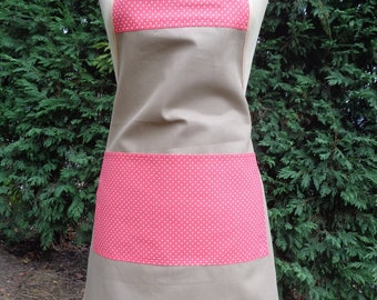 apron woman taupe and Pocket seams