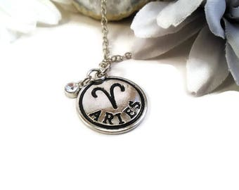 Aries necklace, astrology charm, zodiac jewelry, March and April horoscope necklaces, star sign birthday gift, Aries jewelry