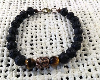Lava stone and tiger eye Buddha bracelet