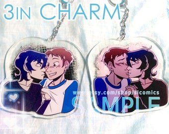 3-inch Klance Keychain, Double-sided Voltron Legendary Defender Charm, Clear Acrylic Keith and Lance BL Ship Pendant, Red + Blue Lion