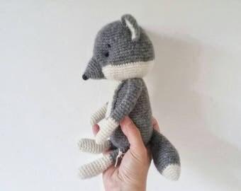 BABBADOUDOU-Wolf amigurumi.  David Wolf. bedtime soft toys. gift for baby shower. toy in alpaca wool