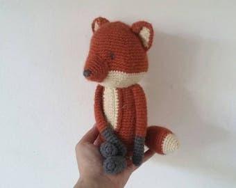 BABBADOUDOU-Fox amigurumi.  Doudou Fox. bedtime soft toys. gift for baby shower. toy in alpaca wool