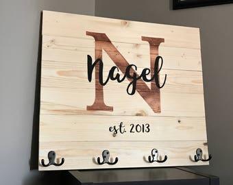 Custom Last Name Wood Sign with Hooks Towel Rack Coat Rack Functional Wedding Anniversary Gift