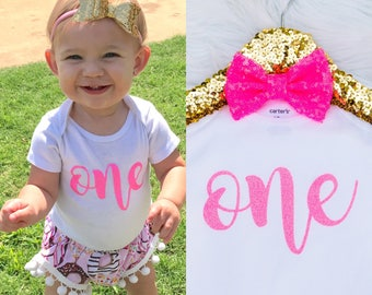 Baby Girl's First Birthday Onesie, ONE onesie, One Birthday shirt, One Birthday Bodysuit, First Birthday Outfit, Pink One Birthday Onesie