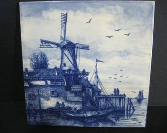 Vintage Delft Blauw Hand Painted Tile, Delft Trivet, Delft Holland