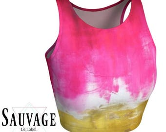 Pink 'n' gold tie dye  • Athletic crop top • Festivals and yoga classes approved • handmade in Montreal - XS to XL
