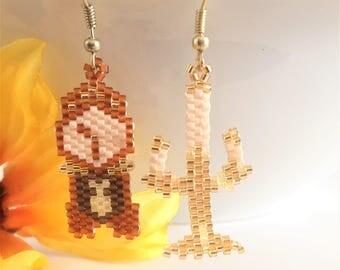 Clock Earrings - Summer Earrings - Beaded Earring - Seed Bead Earring - Summer Jewelry - Beaded Jewelry - Candlestick Earring - Gold Earring