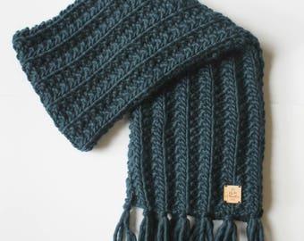 Teal knit scarf, unisex wool scarf, dark green knit scarf, teal scarf, soft wool scarf, hand knit scarf, women fashion accessories