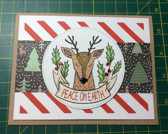 Peace on earth, winter stag, handmade christmas card