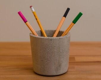 Large Concrete Pot, Desk organizer, Concrete desk organizer, Concrete pen holder, Concrete pot, Office decor