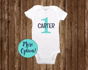 Personalized 1st Birthday Outfit Boy Girl One Baby Onesie With Name Outfit Cake Smash Sea Glass Navy Blue Turquoise Bodysuit