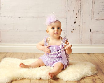 Lavender Lace Romper 1st Birthday Girl Outfit Headband Bubblegum Chunky Necklace Flower Girl Cake Smash Layered Ruffles Purple Mermaid Party