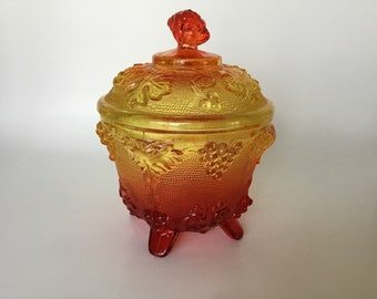 VINTAGE 1950s Jeannette Glass Amberima Candy Dish