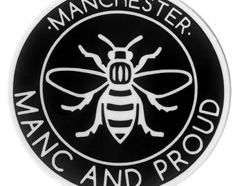 Vinyl Manc and Proud Logo Sticker Manchester Worker Bee Northern Quarter Hacienda Mancunian Car Bumper Sticker Monochrome Decal