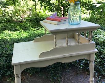 Cream Rustic Farmhouse Two-Tier End Table