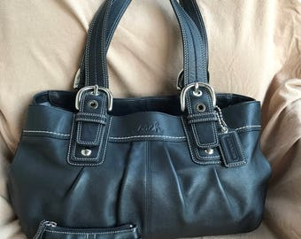 Vintage Coach SoHo Pleated Leather Tote  Coin/Card Wallet - Brand New Condition