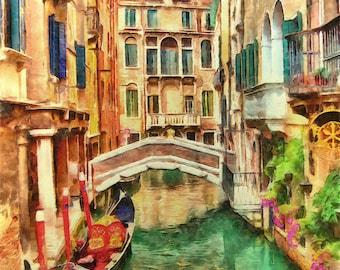 Venice Italy Watercolor Fine Art Print,Home Decor, Poster, Wall Art, , Play Room Wall Art, Kids Wall Art, , Office Wall Decor