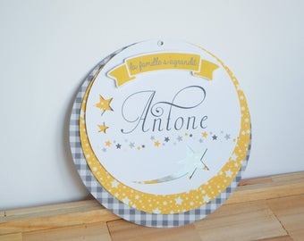 SHARE birth or baptism with motive stars - yellow and gray