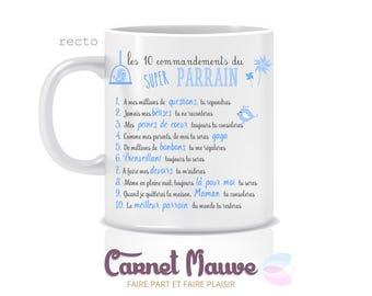 """cadeau parrain ou marraine mug """"10 commandements"""""""