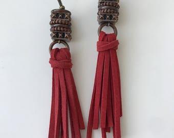 Suede Cord Tassel Earrings