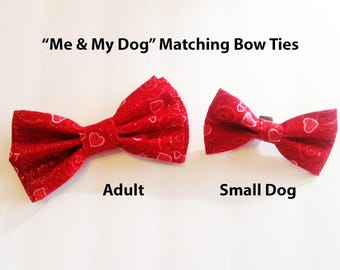 Bow Tie, Mens Bow Tie, Dog Bow Ties, Matching Dog Bow Tie, Dad and Son Bow Tie,  Valentines Bow Tie, Dog Bowtie, Bowtie, Boys Bow Tie  DS755