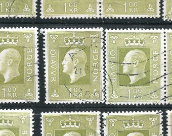 Light Olive Green Used Stamps From Norway/25 Stamps Of King Olav The V