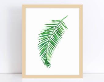 Palm Tree Wall Print, Palm Leaf Print, Tropical Decor Print, Printable Leaf Palm, Positive Vibes, Yoga Wall Poster, Digital Wall Art, Gift