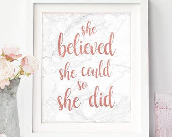 She Believed, Believed She Could, College Student Gift, Rose Gold, Marble Print, Dorm Room Decor, College Gift Ideas, Motivational Quote