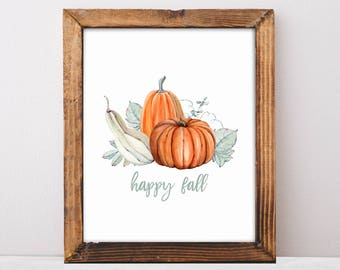Happy Fall, Thanksgiving Decor, Pumpkin Decor, Fall Mantle Decor, Farmhouse Decor, Wall Art, Gift For Mom, Kitchen Decor, Fall Home Decor
