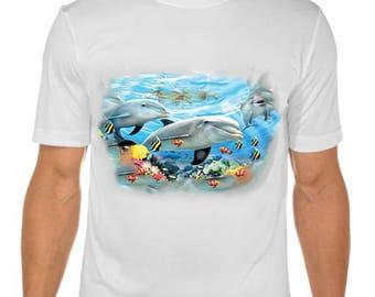 New Womans Mens Unisex Graphic Solar Colour Changing Animal Dolphin Friends White Cotton T Shirt