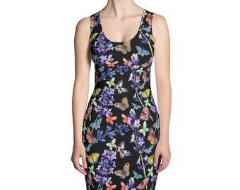 Black dress with butterflies on it