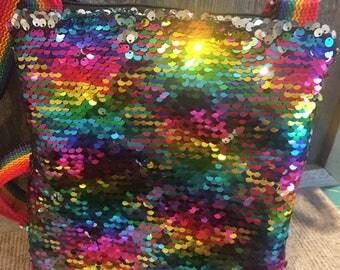 Childs purse/reversible sequin purse/tote/purse/cross body bag/vegan