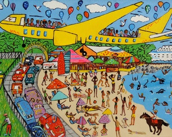 City art. Sint Martin, Runway 10. Acrylic painting. Fine art giclée print on archival paper. The friendly island!