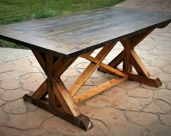 7' Farmhouse X Trestle Dining Table, Solid Wood Kitchen Table, Made to Order, Can be Customized
