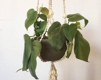 Vintage Sea Shell Macrame Plant Holder / Hanging Planter Holder