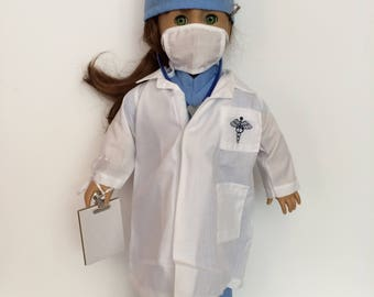 18 Inch Doll Clothes Blue White Doctors Lab Coat and Scrubs 8 Piece Outfit Also Fits Like American Girl Doll Clothes