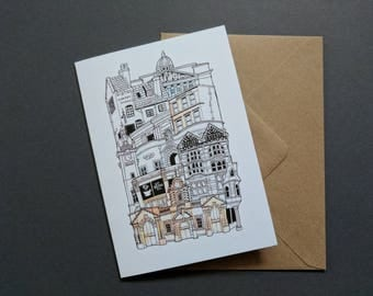 Greetings card A6 Nottingham cityscape