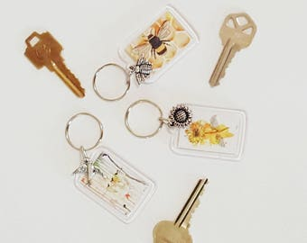 Art keychains, bee, sunflower or bird, perfect stocking stuffer