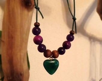 Necklace-Relaxing New Start-aventurine, sugilite, Amethyst, wood