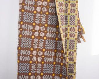 Brown Welsh Tapestry Blanket Caernarfon Pattern