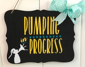 Breastfeeding Sign - Pumping Sign - Privacy Sign - Breastfeeding Door Hanging Sign - Pumping in Progress Sign